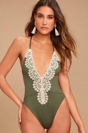 Blue Life Eclipse Olive Green One Piece Swimsuit 1