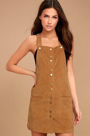 Girls Rule Brown Corduroy Pinafore Dress 1