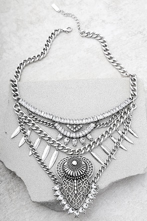 Delight and Dazzle Silver Rhinestone Statement Necklace 1