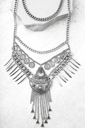 Mythic Melody Silver Layered Statement Necklace 1