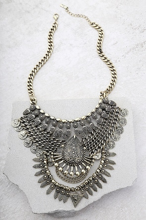 Moon Dance Gold Statement Necklace 1