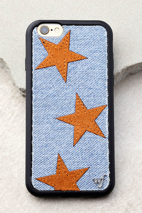 Wildflower Star Vintage Denim and Tan iPhone 6 and 6s Case 1