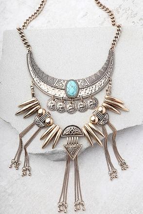 Rhea Layered Gold Statement Necklace 1