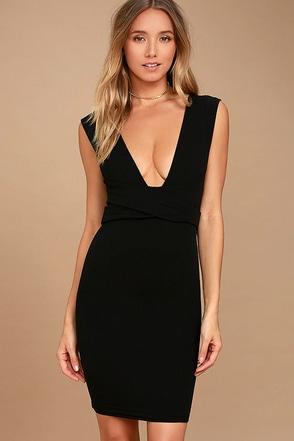 River Deep Black Bodycon Dress 1