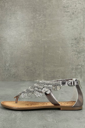 Naughty Monkey Brave Heart Pewter Leather Sandals 1