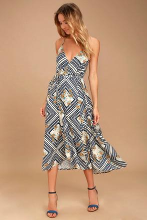 O'Neill Leelee Light Beige Print Wrap Dress 1