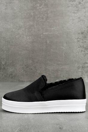 Magara Black Satin Flatform Slip-On Sneakers 1