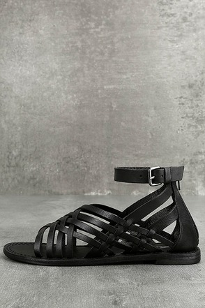 Rebels Trinity Black Leather Gladiator Sandals 1