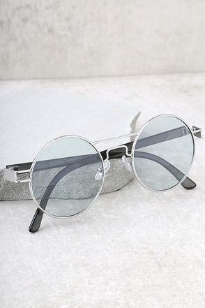 Yoko Silver and Green Round Sunglasses 1