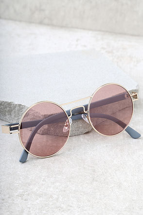 Yoko Gold and Pink Round Sunglasses 1