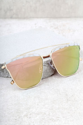 Starry Galaxy Gold and Pink Mirrored Sunglasses 1