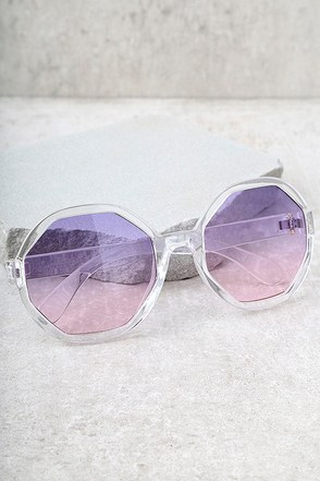 Crystal Dreams Clear and Purple Sunglasses 1