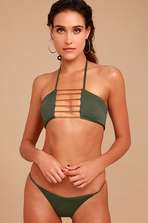 Blue Life Birds of Paradise Olive Green Bikini Bottom 1