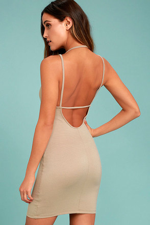 Favorite Distraction Taupe Backless Bodycon Dress 1
