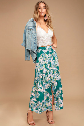 O'Neill Samara Green Floral Print Maxi Skirt 1