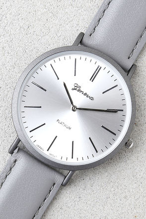 D'Arcy Grey Leather Watch 1