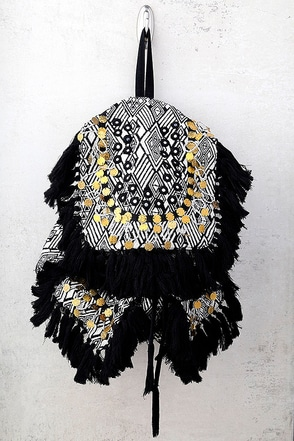 Wild Thing Beige and Black Woven Backpack 1