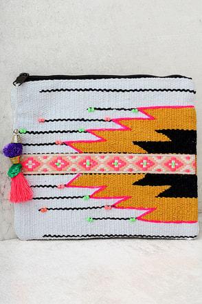 Santa Fe Sun Beige Embroidered Clutch 1