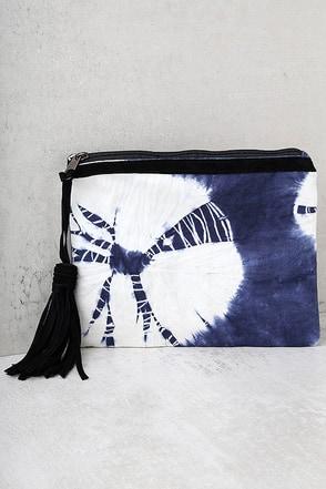 Tropical Sky Blue Tie-Dye Clutch 1