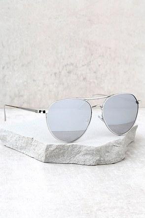 True Gem Silver Mirrored Aviator Sunglasses 1