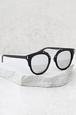 Trooper Black and Silver Mirrored Sunglasses 1