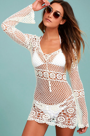 Sea and Sand Cream Crochet Cover-Up 1