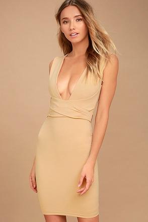 River Deep Nude Bodycon Dress 1