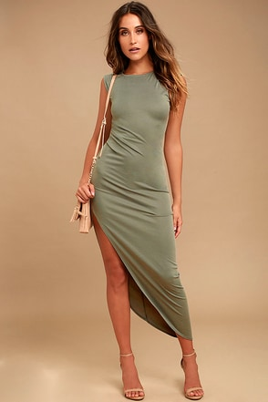 Positive Perspective Olive Green Midi Wrap Dress 1
