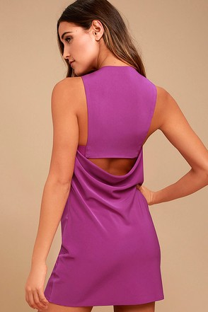 Streamlined Style Magenta Cutout Dress 1