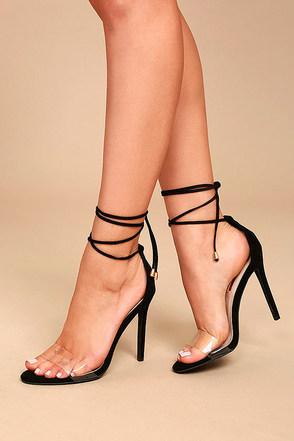 Ledah Black Suede Lace-Up Heels 1