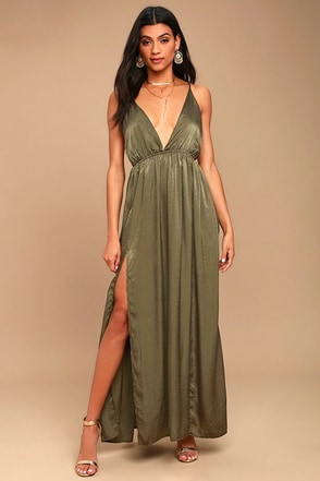 Uncharted Waters Olive Green Satin Maxi Dress 1
