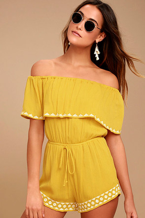 Oaxaca Mustard Yellow Embroidered Off-the-Shoulder Romper 1