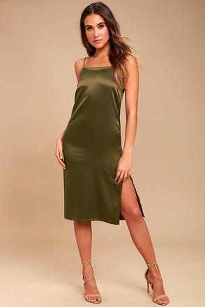 Keeps Gettin' Better Olive Green Satin Midi Dress 1