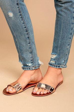 Nori Rose Gold Patent Slide Sandals 1
