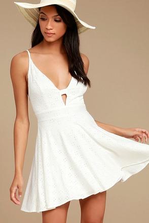 Lucy Love Slay White Skater Dress 1