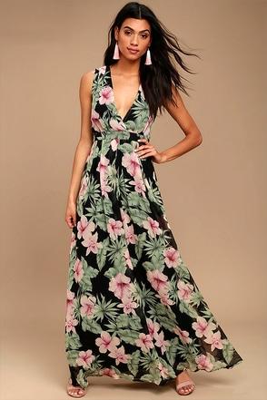 Love Interest Black Floral Print Maxi Dress 1