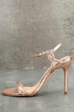 Jewel by Badgley Mischka Hepburn II Rose Gold Leather Heels 1