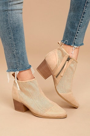 Tove Toast Beige Suede Cutout Ankle Booties 2