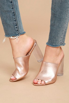 Steve Madden Classics Rose Gold Leather Lucite Mules 1