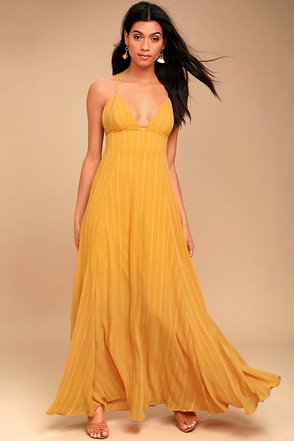 Elevate Mustard Yellow Embroidered Maxi Dress 1