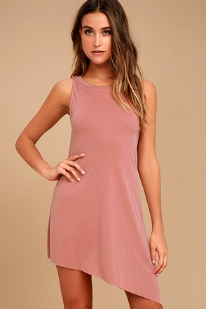 Deep in Thought Mauve Shift Dress 1