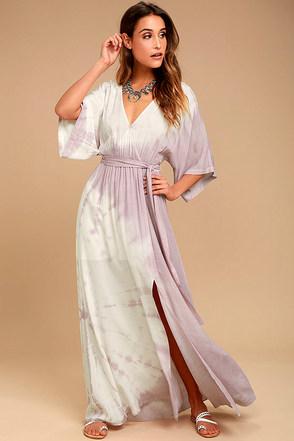 Awaken My Soul Ivory and Lavender Tie-Dye Maxi Dress 1
