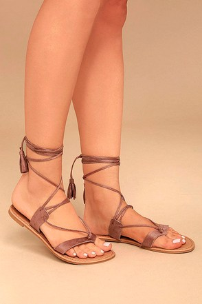 Theola Mauve Suede Lace-Up Sandals 1