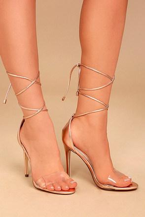 Ledah Rose Gold Lace-Up Heels 1