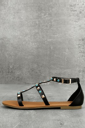 Antonina Black Studded Gladiator Sandals 1