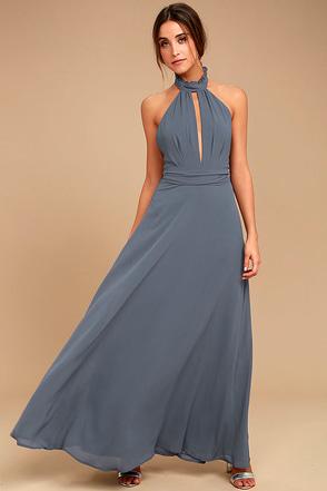First Comes Love Denim Blue Maxi Dress 1