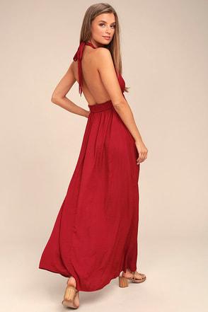 Unforgettable Night Burgundy Satin Maxi Dress 1