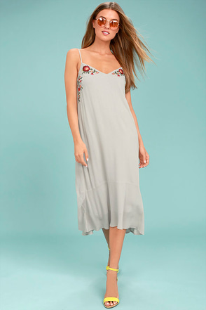 Nature's First Light Grey Embroidered Midi Dress 1