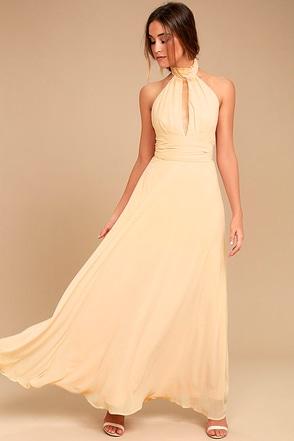 First Comes Love Light Beige Maxi Dress 1