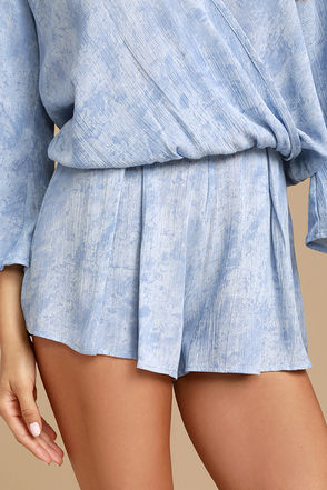 Sweet Skylight Periwinkle Blue Print Shorts 1
